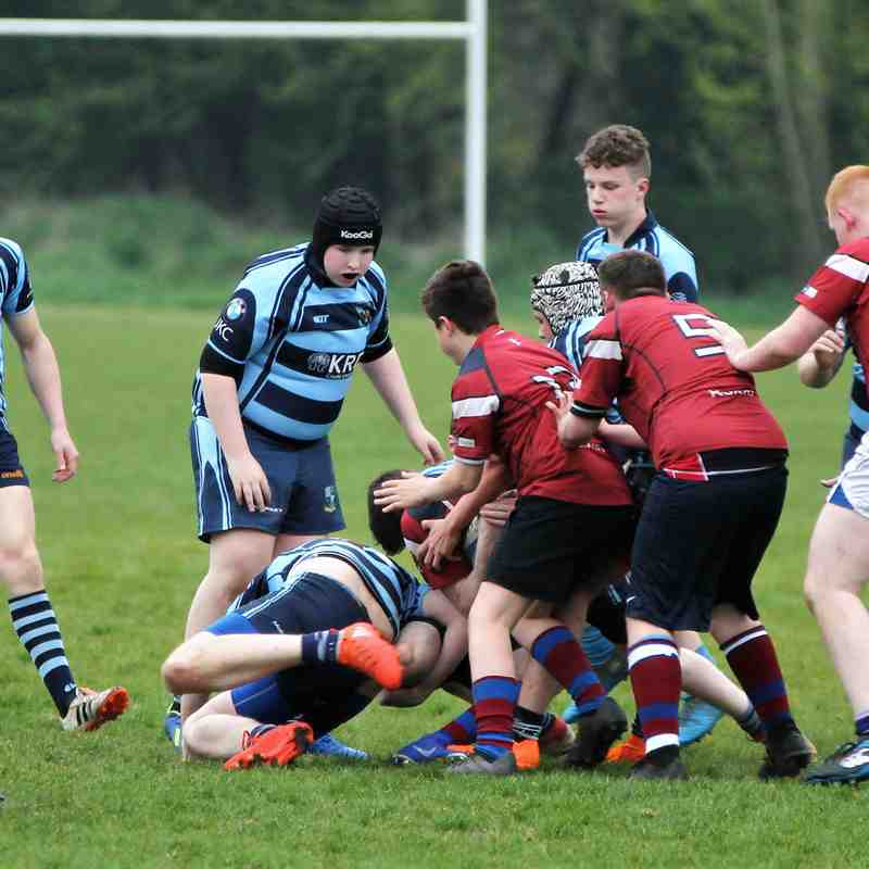 Ballymoney RFC U16s v Dalriada School U16s, Thurs 11 April 2019. Photos by Uel McDowell