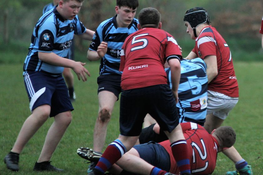 Ballymoney RFC U16s v Dalriada School U16s, Thurs 11 April 2019. Photos by Uel McDowell