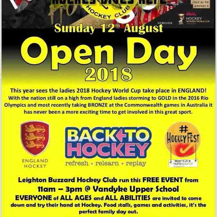 CLUB OPEN DAY - 12TH AUGUST