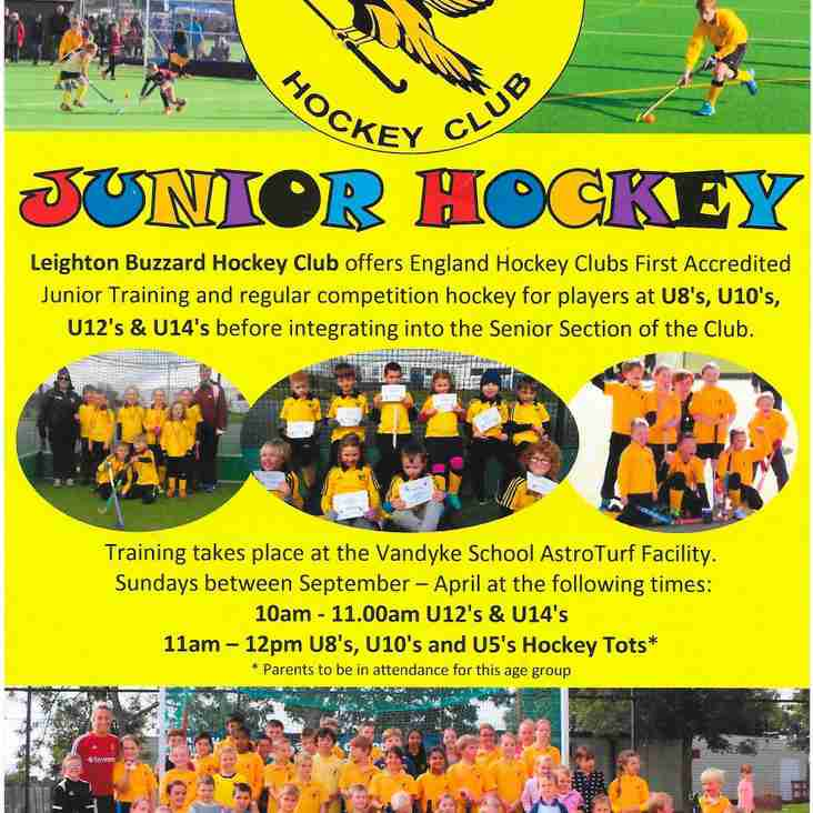 Junior Section Update 2018 - 19 Season Training Times and Subs