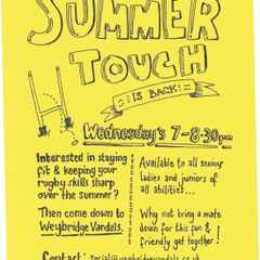 Summer Touch Rugby Wednesday 22nd 7pm - 8.30pm