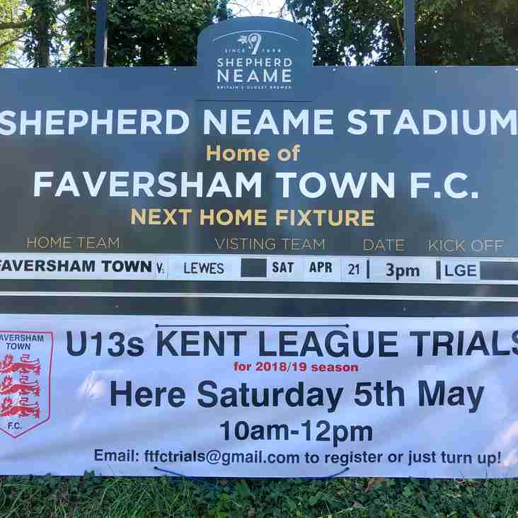 U13 KENT YOUTH LEAGUE TRIALS THIS SATURDAY