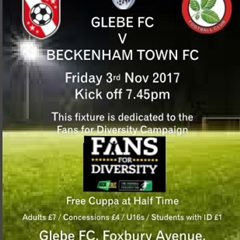Fans for Diversity Match - Friday 3rd Nov KO 7.45