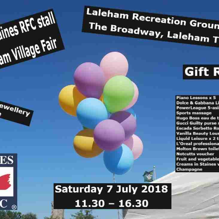 Visit the Staines Rugby Stall at Laleham Village Fair 7th July