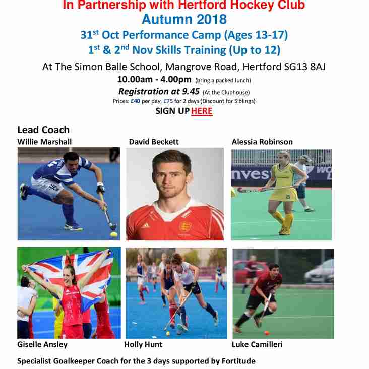 Autumn Half Term Hockey Camps