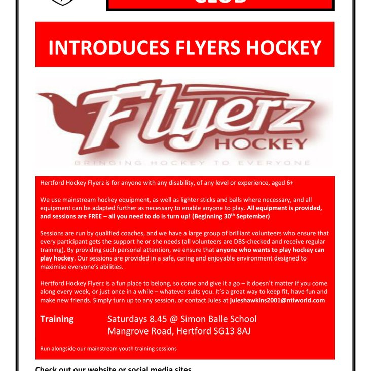 Hertford Hockey club introduces Flyerz Hockey<