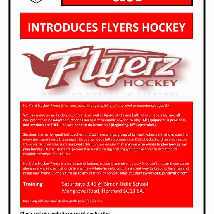Hertford Hockey club introduces Flyerz Hockey