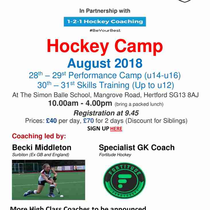 Summer Hockey Camp with 1-2-1 Hockey Coaching