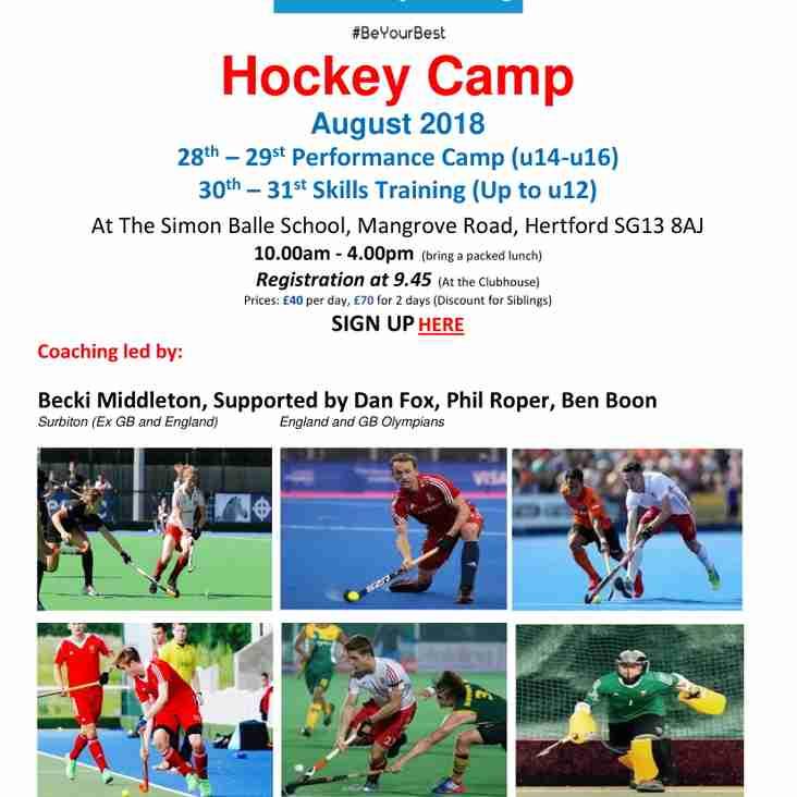 Summer Hockey Camp  - Coaches Finalised