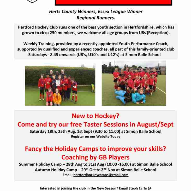 FREE YOUTH TASTER SESSIONS @ Hertford Hockey Club