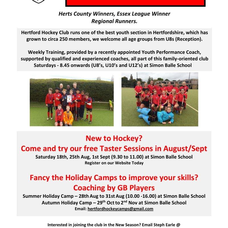 FREE YOUTH TASTER SESSIONS @ Hertford Hockey Club
