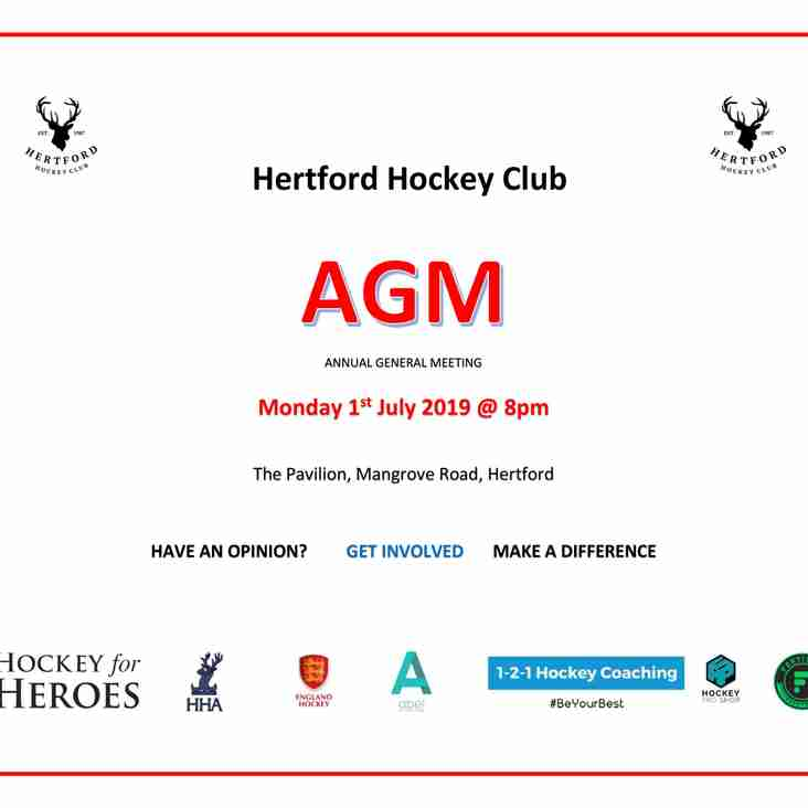 SAVE THE DATE - HERTFORD HOCKEY CLUB AGM