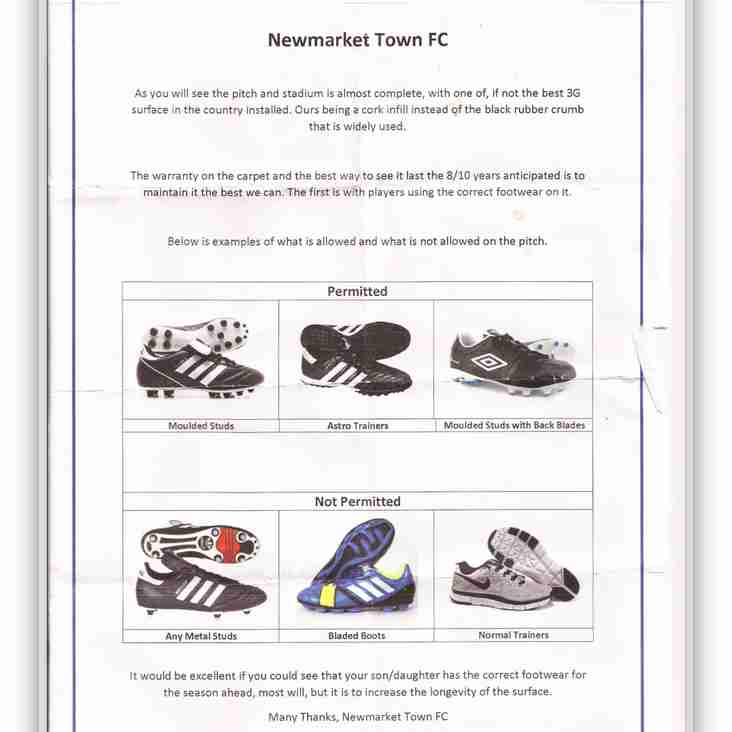 Footwear permitted for this Sundays match