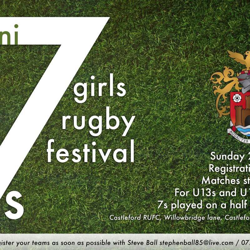 Castleford RUFC Mini 7s Girls Rugby Festival 25th June