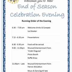 Running Order - End of Season Presentation Evening