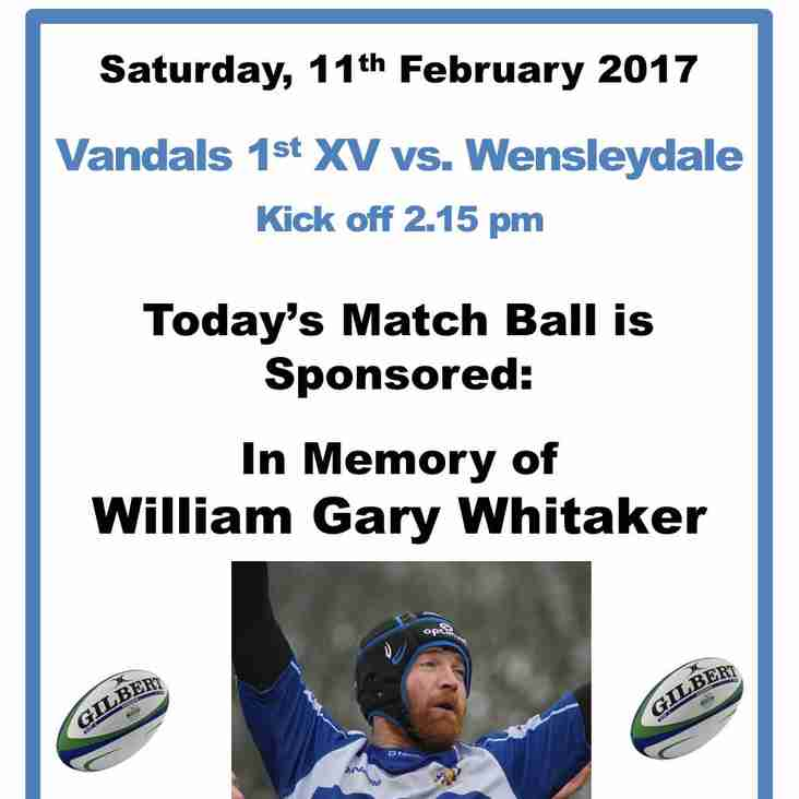 MATCH BALL SPONSOR - SATURDAY, 11TH FEBRUARY 2017