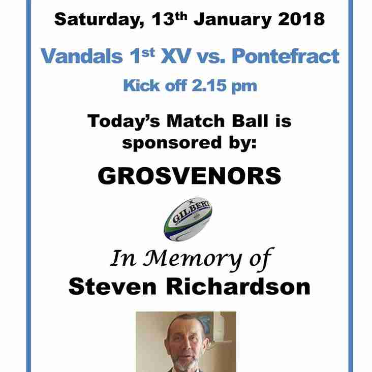 Saturday, 13th January 2018 - Match Ball Sponser - GROSVENORS