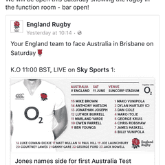 Club is Open tomorrow for Australia versus England; KO 11:00am