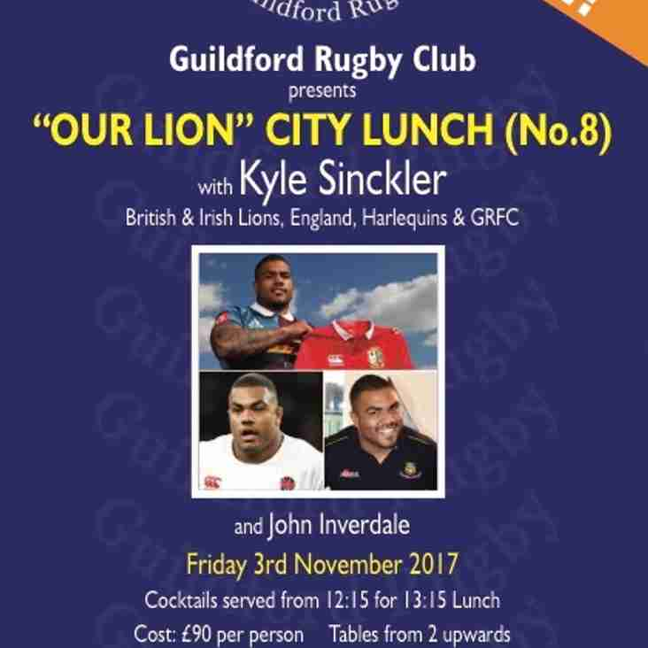 City Lunch No.8 CONFIRMED for Friday 3rd November 2017 with Guest Speaker KYLE SINCKLER