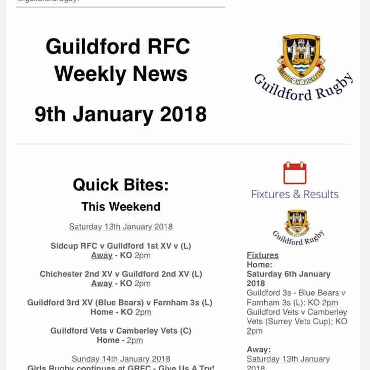 GRFC Weekly News - 9th January 2018