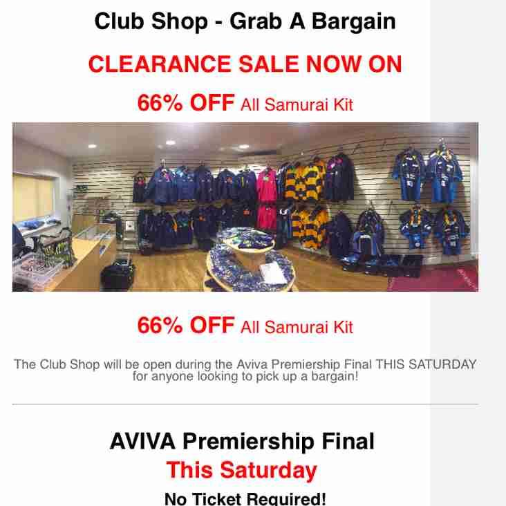 Club Shop Clearance - 66% OFF