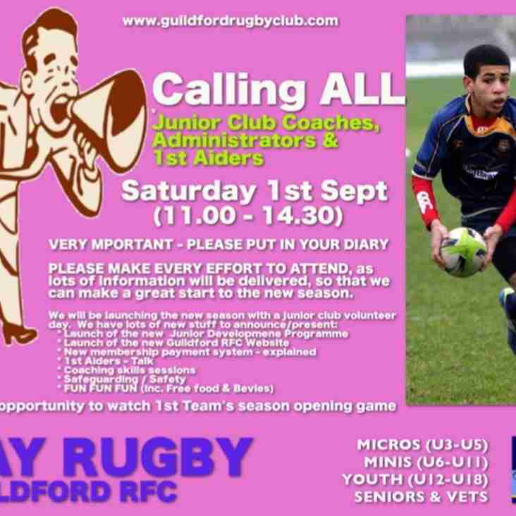 Guildford RFC Junior Coaches, Administrators & 1st Aiders Pre-Season Day - 1st September 2018