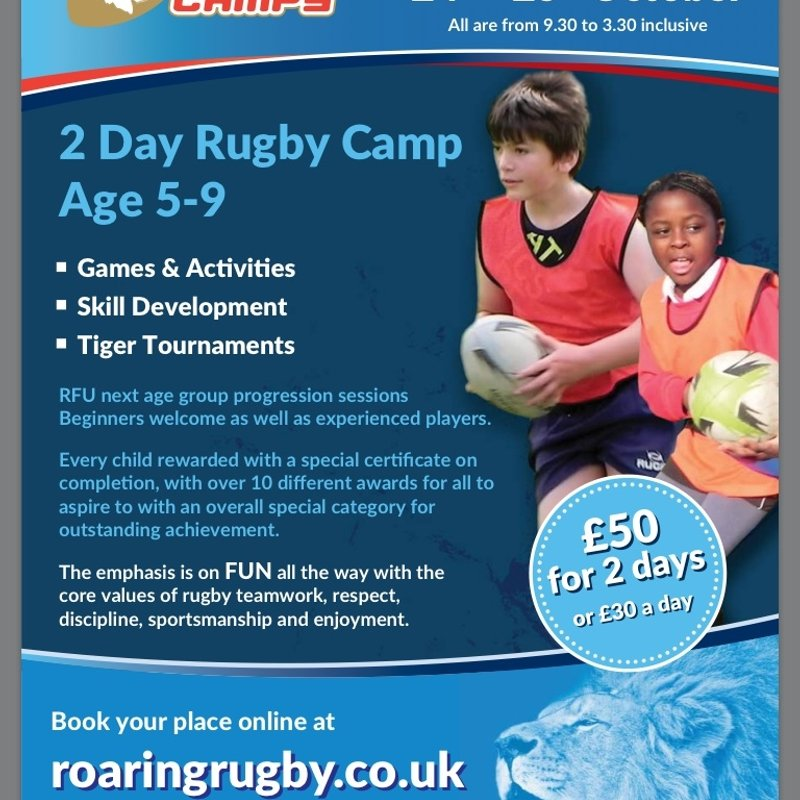 Roaring Rugby camp in October half term