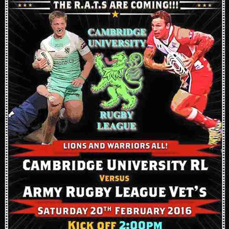 Army RL Vets to return to Cambridge