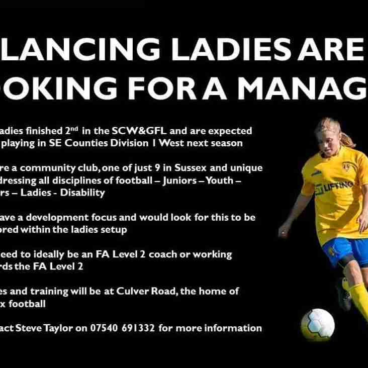 Vacancy: Ladies Manager