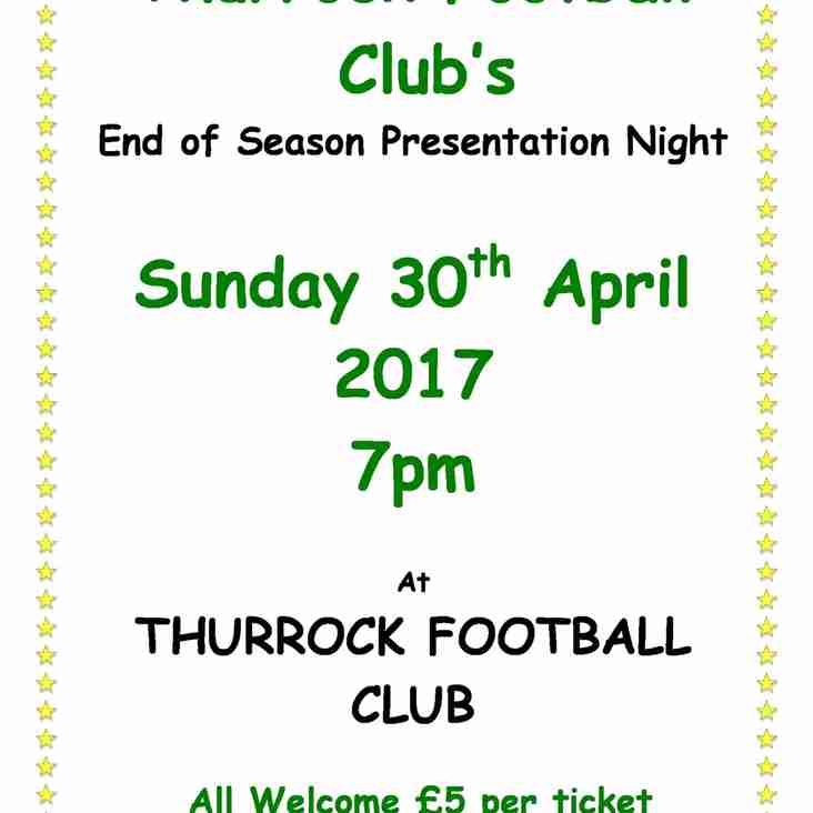 End of Season Presentation: Sunday 30th April at 7pm.