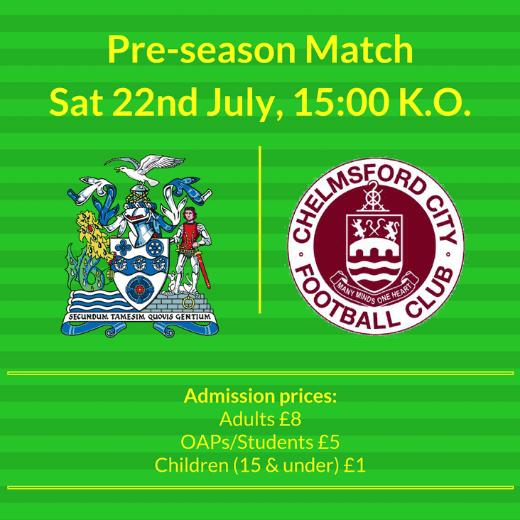 Thurrock vs Chelmsford City | Saturday 22nd July | KO: 3pm
