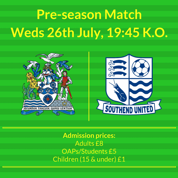Wed 26th July | Thurrock vs Southend United XI | 19:45