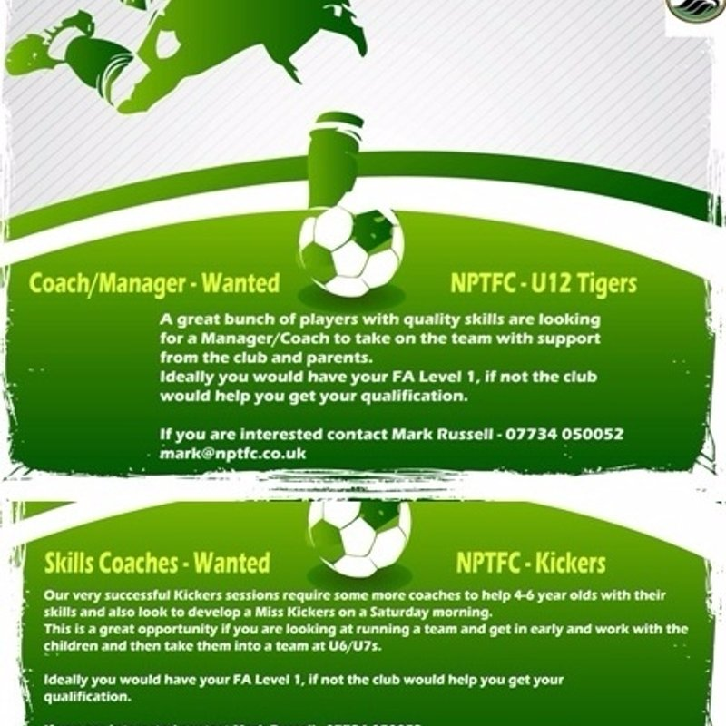 Under 12s Manager & Kickers Skills Coach Required.