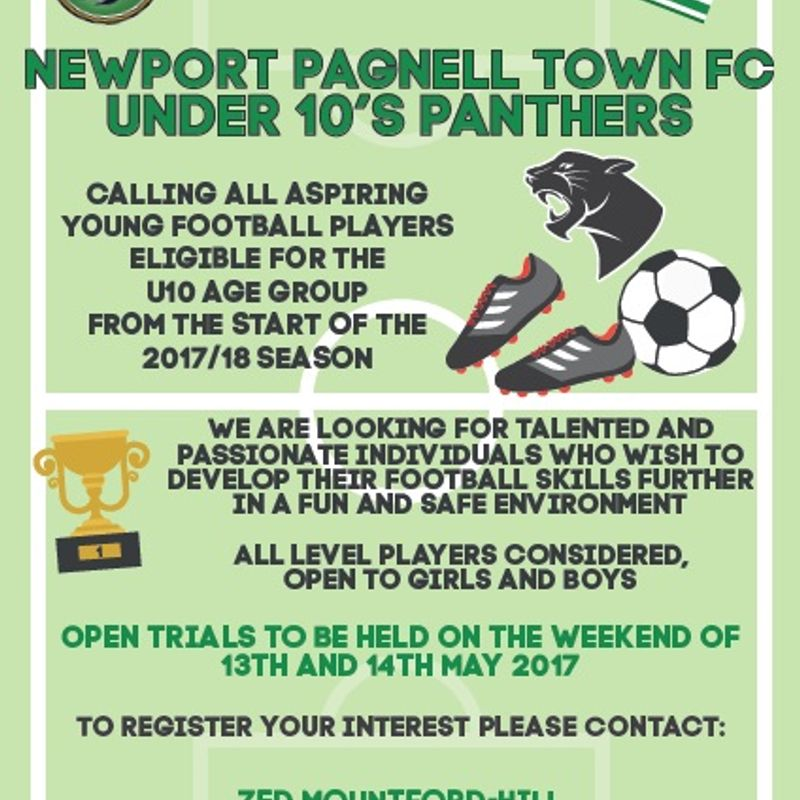 New players needed a new NPTFC Under 10s team for the 2017/18 season.