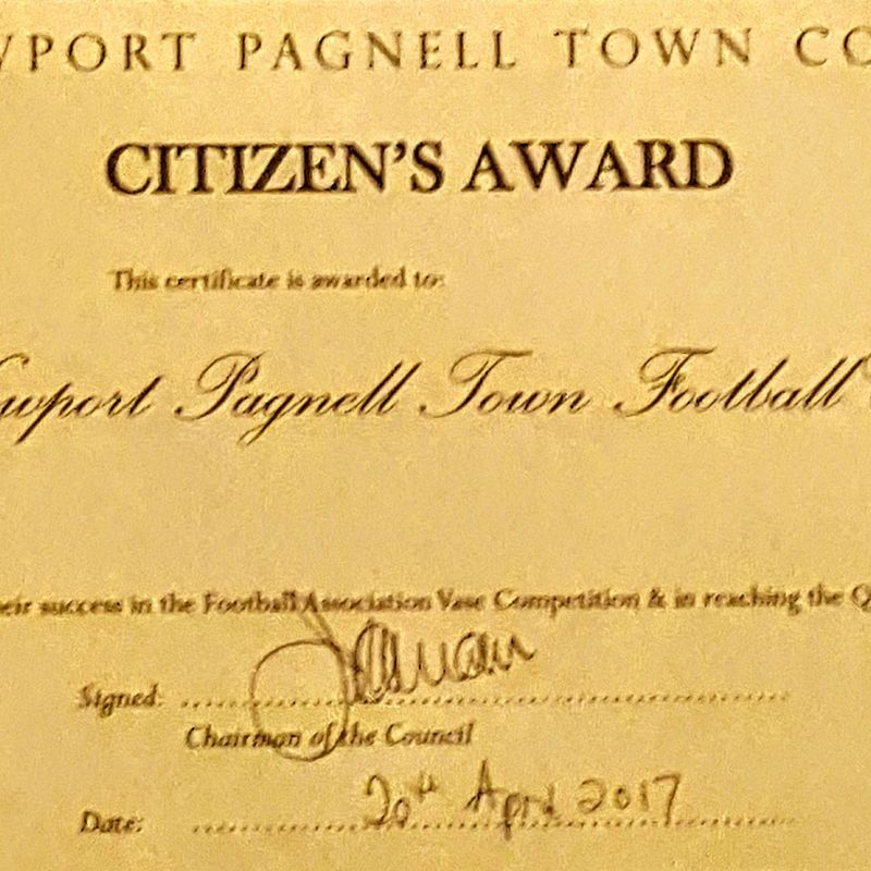 The Swans Recieve an Award from Newport Pagnell Town Council