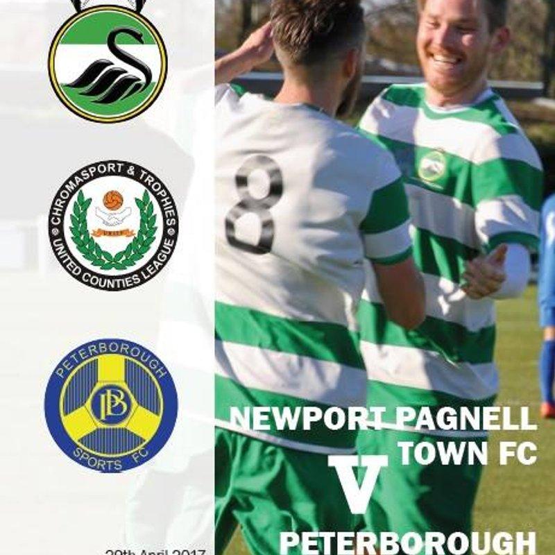 Vs Peterborough Sports Programme - 29th April.