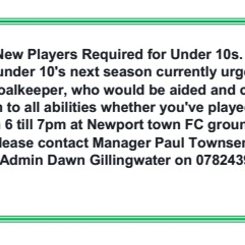 New Players Required for Under 10s.