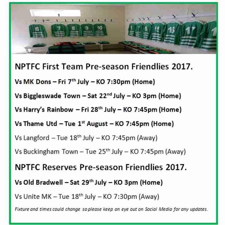 NPTFC First Team & Reserves Team Pre-season Friendlies 2017.