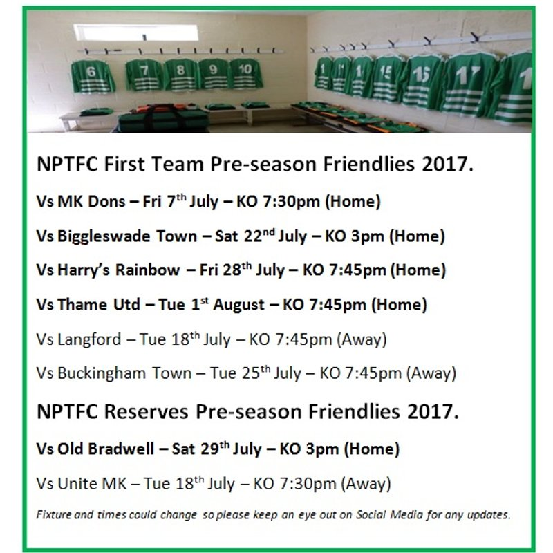 NPTFC First Team & Reserves Team Pre-season Friendlies 2017.