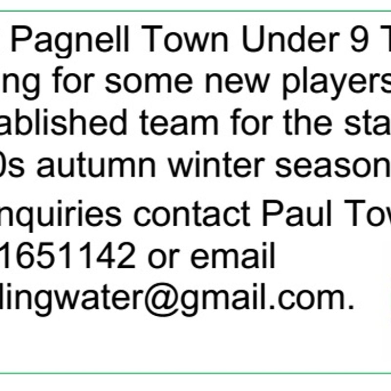 Newport Pagnell Town Under 9 Tigers are looking for some new players to join their established team..