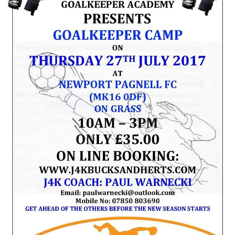 Just 4 Keepers Goal Keeper Camp at NPTFC - Thu 27th July 2017.