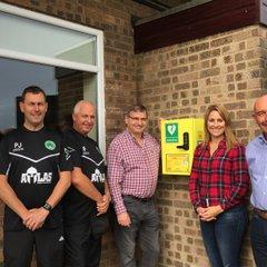 The New Defibrillator & Box Thanks to  MK Community Foundation & Councillor Douglas McCall