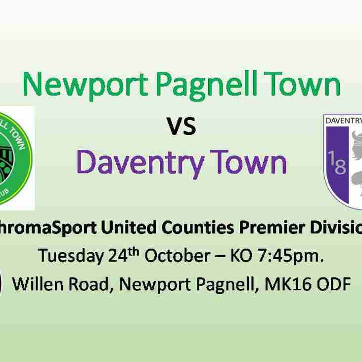 Swans vs Daventry Town - ChromaSport UCL Premier Division - Tues 24th Oct - KO 7:45pm
