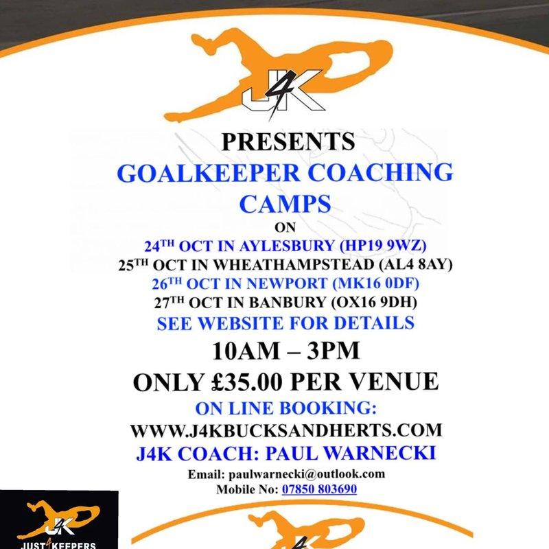 October half term goalkeeper coaching camps dates....