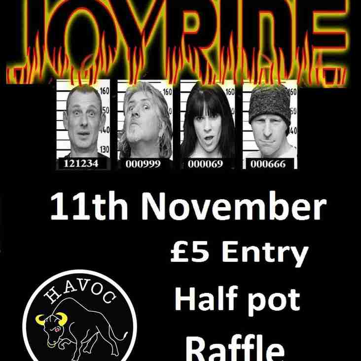 JOYRIDE Rock band live at NPTFC Clubhouse - Saturday 11th November - 8pm