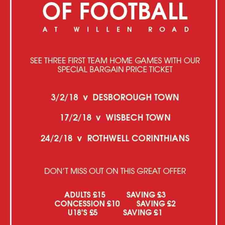 February Feast of Football at Willen Road Ticket Offer!