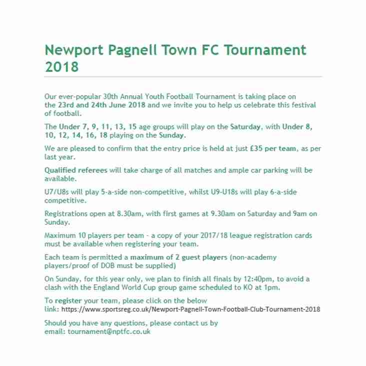 Newport Pagnell Town FC Tournament 2018 -  Securing your space early is recommended as we now have limited spaces available with some age groups already full.