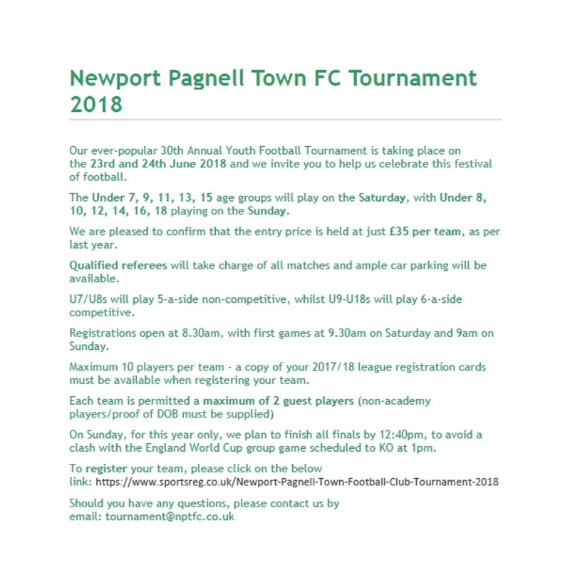 Newport Pagnell Town FC Tournament 2018 - We only have a few spaces left now for Under 12 Girls and Under 18s Boys and 1 space for the under 16s.