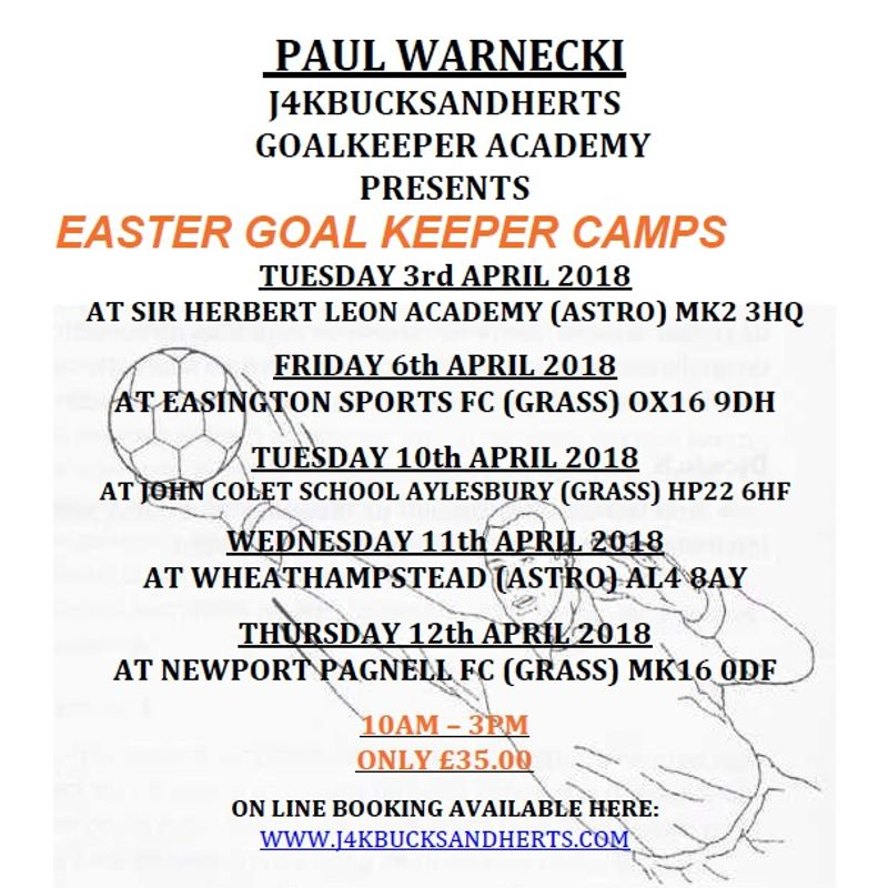 Easter Half Term Goalkeeper Camps are now LIVE on J4K website for online booking.