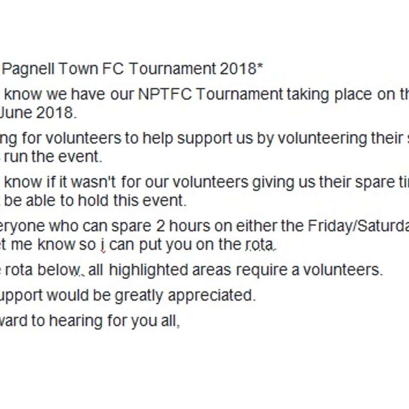 Volunteers required for the Newport Pagnell Town FC Tournament 2018.....